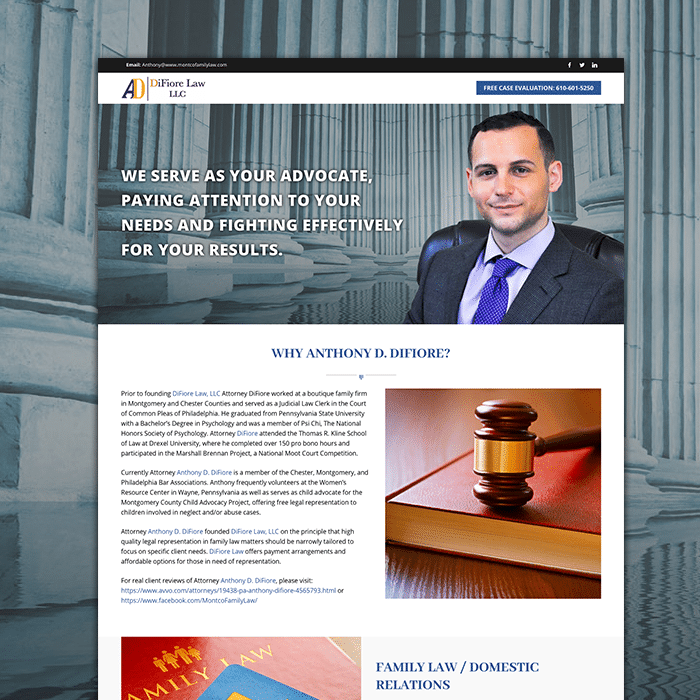 Difiore Law Website Design Montreal